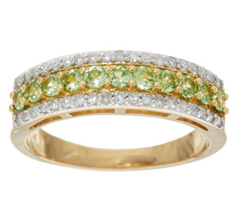 Demantoid Garnet & Diamond Band Ring, 14K Gold 0.30 cttw - J329439