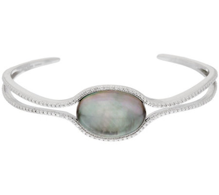 """As Is""Sterling Silver Black Mother-of-Pearl Doublet Cuff by Silver Style"