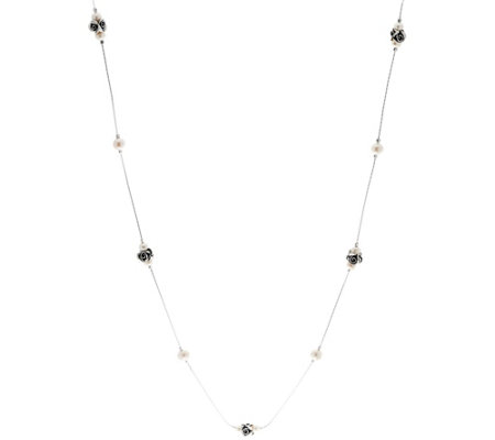 "Sterling Rose & Cultured Pearl Station 36"" Necklace by Or Paz"