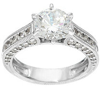 Diamonique Textured 2.75 cttw Bridal Ring, Sterling - J330939