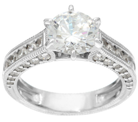 Diamonique Textured 2.75 cttw Bridal Ring, Sterling