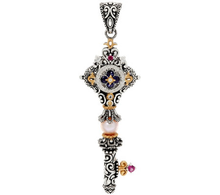 Barbara Bixby Sterling & 18K 0.85 cttw Gemstone Flower Key Enhancer