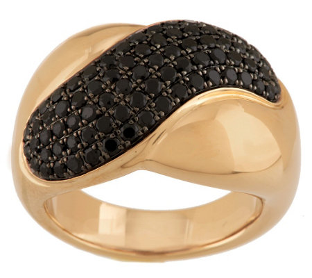 """As Is"" 1.00 ct tw Black Spinel Wave Design Ring, 14K"