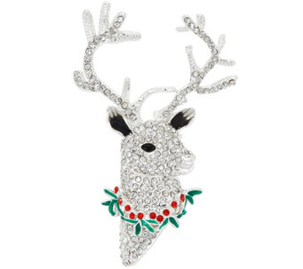 Joan Rivers Crystal Reindeer Brooch - J332939