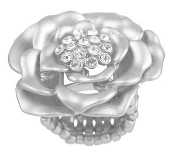 """As Is"" Susan Graver Crystal Accent Signature Rose Ring - J333339"