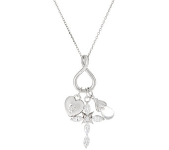 "Hallmark Sterling Cubic Zirconia Charm Pendant with 18"" Chain - J333439"
