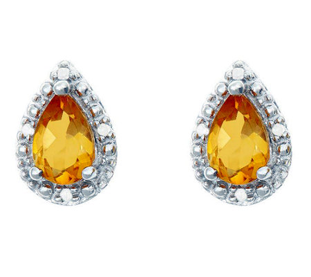 Sterling Pear-Shaped Gemstone Stud Earrings w/Diamond Accent