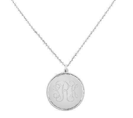 "Stainless Steel Engravable Round Disc Pendant w18"" Chain"