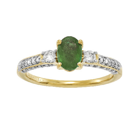 Oval Emerald & 1/2 cttw Diamond Ring, 14K Gold