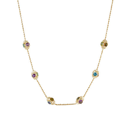 "Arte d'Oro 16.00cttw Multi-Gemstone 24""  Necklace, 18K"