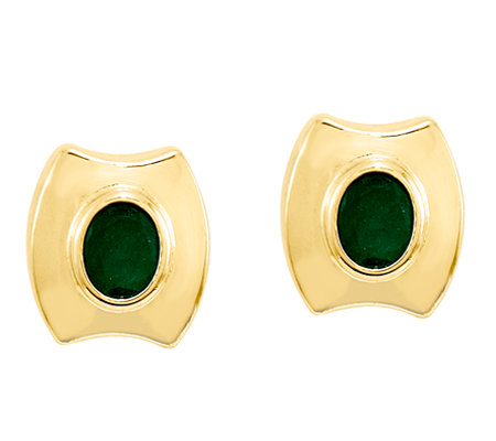 Emerald Post Earrings, 14K Gold