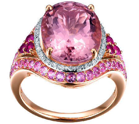 7.00cttw Morganite & Pink Sapphire Ring, 14K Rose Gold