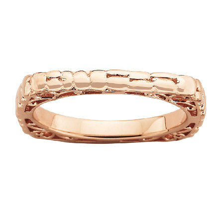 Simply Stacks Sterling & 18K Rose Plated Textured Square Ring