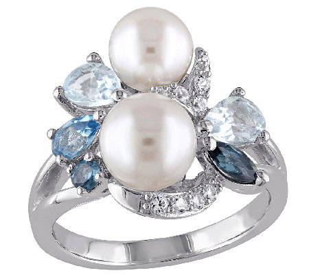Sterling Blue Multi-Gemstone & Cultured Pearl Cluster Ring