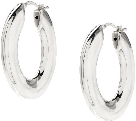 "UltraFine Silver 1-1/2"" Oval-Shaped Polished Hoop Earrings"