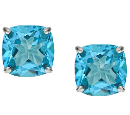 2.90cttw Blue Topaz Cushion Basket Stud Earring, Sterling