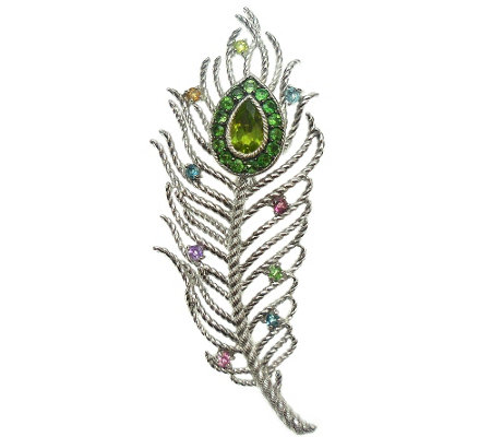 Judith Ripka Sterling Textured Gemstone PeacockFeather Pin