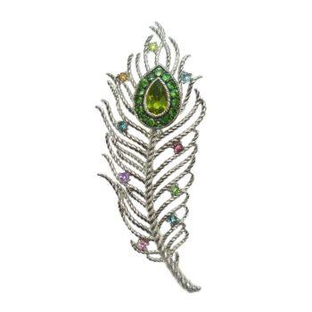 Judith Ripka Sterling Textured Gemstone PeacockFeather Pin