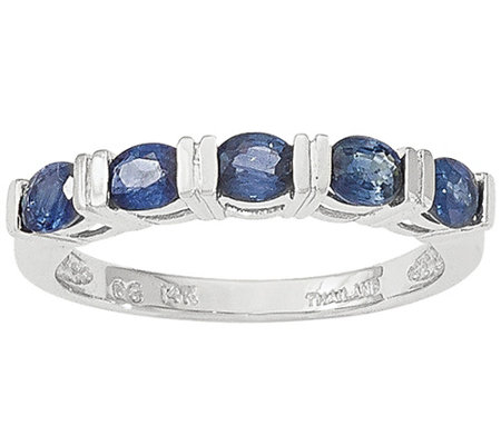 Five Gemstone Band Ring, 14K White Gold