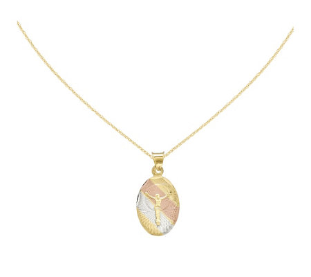 "Corpus Oval Pendant with 18"" Chain, 14K Gold"