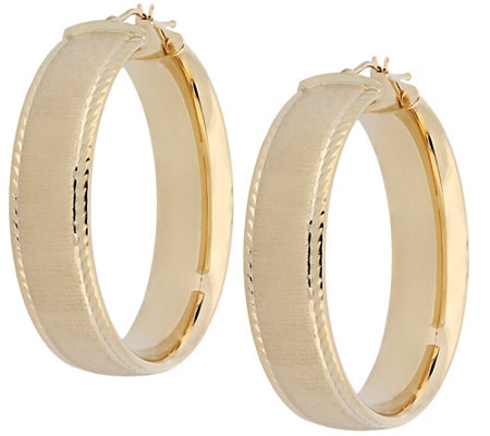 Arte d'Oro Satin & Diamond Cut Hoop Earrings, 18K