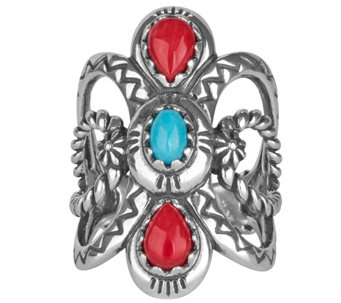 Sterling Turquoise & Coral Ring by American West - J343339