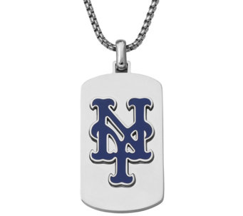 Men's MLB Mets Stainless Steel Dog Tag with Chain - J343739