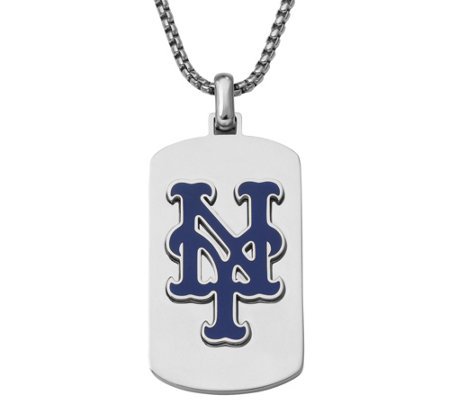 Men's MLB Mets Stainless Steel Dog Tag with Chain