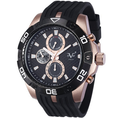 V19.69 Italia Men's Rosetone and Black Watch w/Black Strap