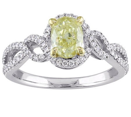 Oval Yellow Diamond Ring, 14K, 1.00 cttw, by Affinity