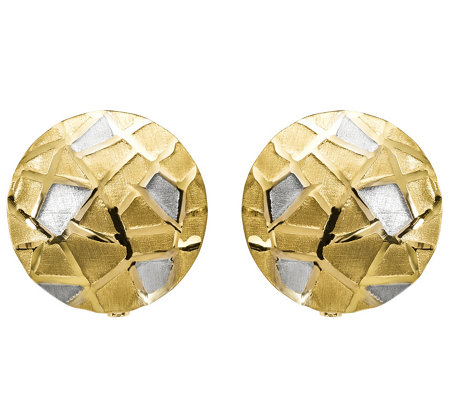 14K Gold Two-tone Geometic Pattern Earrings