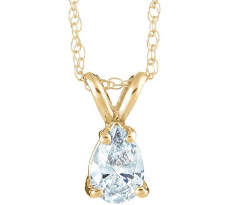 Pear Shaped Diamond Pendant, 14K Yellow, 1/2 cttw, by Affinity