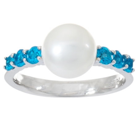 Honora Cultured Pearl 8.0mm & Exotic Gemstone Sterling Ring