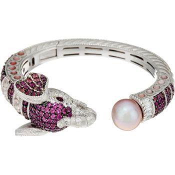Judith Ripka Sterling 6.45 cttw Gemstone Ethel Elephant Cuff Bracelet