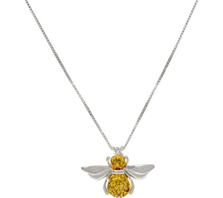Yellow Diamond Bumblebee Pendant, Sterling by Affinity