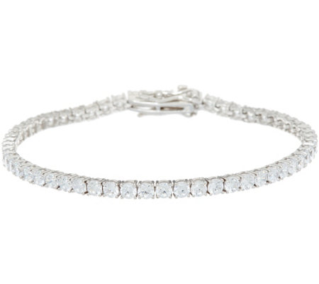 Diamonique Round Tennis Bracelet, Sterling
