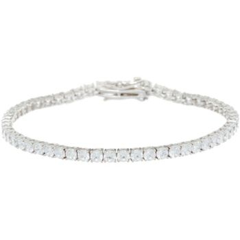 Diamonique Round Tennis Bracelet, Sterling