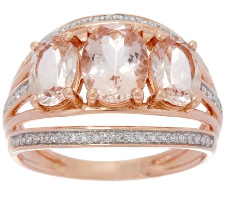 3-Stone Oval Morganite & Diamond Band Ring, 14K Gold, 2.00 cts