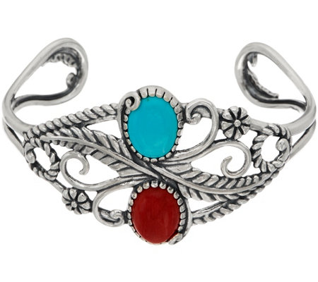 American West Red Coral & Turquoise Sterling Silver Leaf Cuff