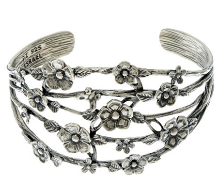 """As Is"" Sterling Silver Floral Openwork Cuff 25.00g by Or Paz"