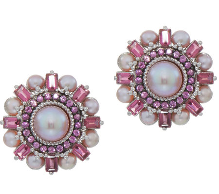 Judith Ripka Sterling Pink Cultured Pearl & Gemstone Earrings