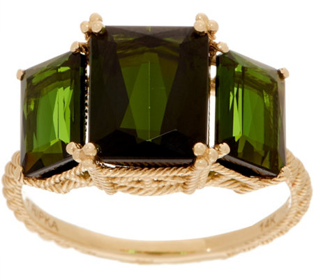 Judith Ripka 14K Gold Triple Stone Green Tourmaline Ring