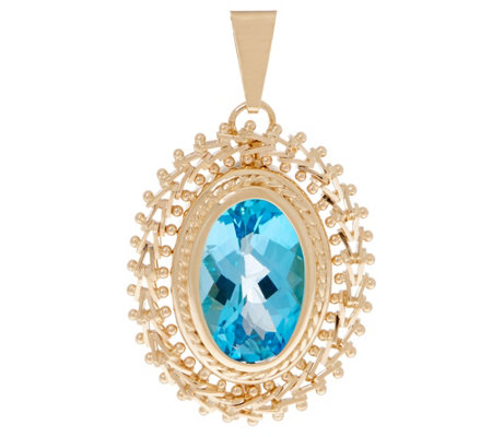 Imperial Gold Blue Topaz Pendant, 14K Gold