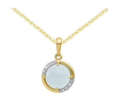 "14K Chalcedony and Diamond Accent Pendant with 18"" Chain"