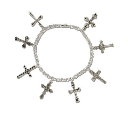 "Sterling Silver 8 Fashion Cross Rolo Link 7-1/2"" Bracelet"
