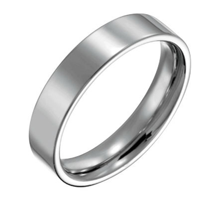 Forza Men's 5mm Steel Flat Polished Ring