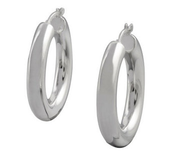 "UltraFine Silver 1-1/8"" Polished Round Hoop Earrings - J113940"