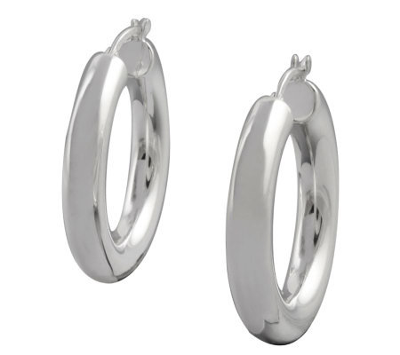 "UltraFine Silver 1-1/8"" Polished Round Hoop Earrings"