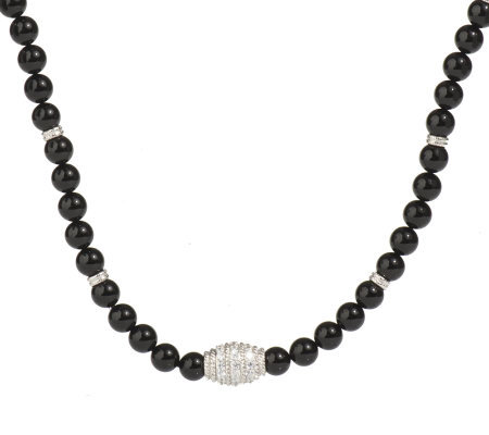 Judith Ripka Sterling Onyx Bead and Diamonique Barrel Necklace
