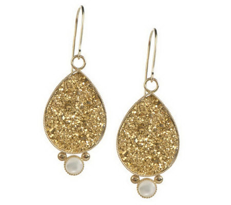 "1-3/4"" Teardrop Drusy with Mother of Pearl Accent Dangle Earrings, 14K"